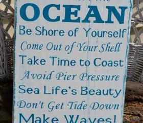 Advice From The Ocean, Beach Sign, Beach Decor, Coastal Sign, Wood, Hand Painted