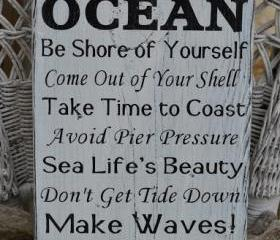Beach Decor, Beach Sign, Advice From The Ocean Sign, Coastal Decor, Hand Painted