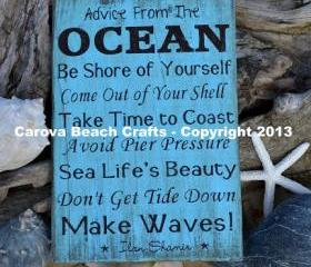 Beach Sign, Beach Theme, Beach Decor, Advice From The Ocean Wood Sign, Coastal Wall Hanging